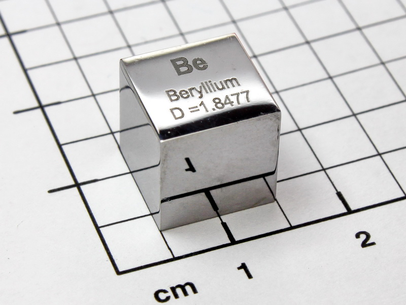 Beryllium – polished precision density cube 10mm – 1.847g