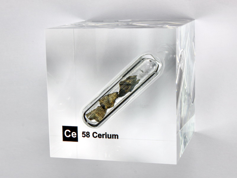 Acrylic Element cube – Cerium Ce – 50mm