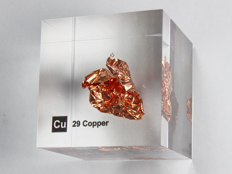 Acrylic Element cube – Copper Cu – 50mm