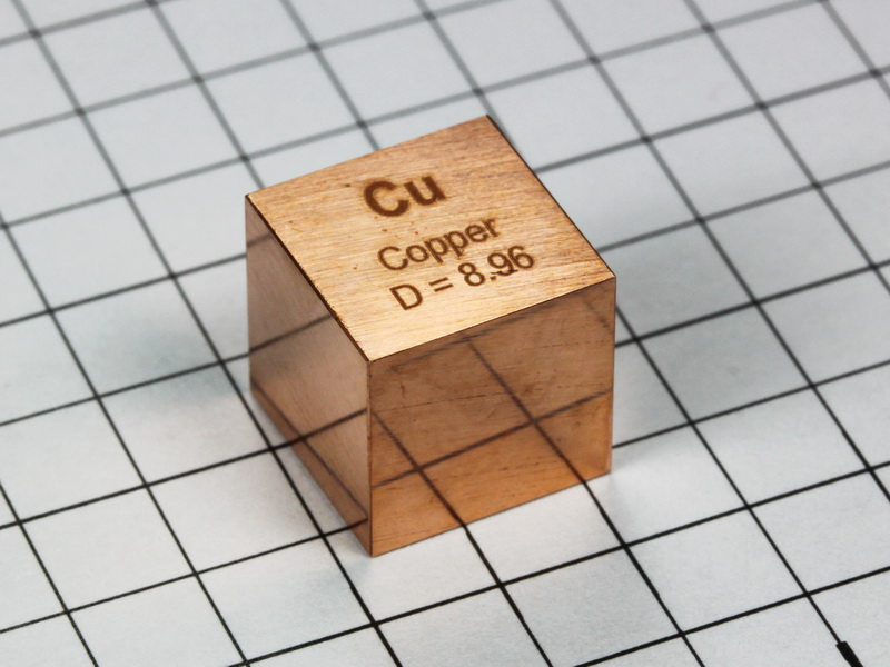 Copper – precision density cube 10mm – 8.96g