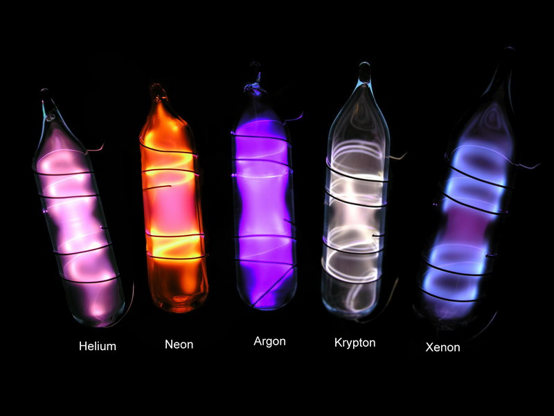 Noble gases complete set in ampoules premium version