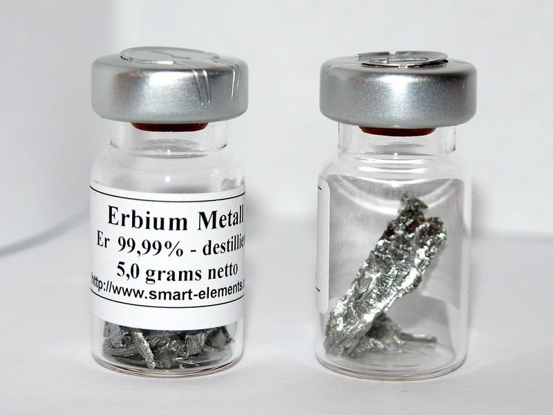 Erbium Metal 99,99% purity in sealed vial under Argon