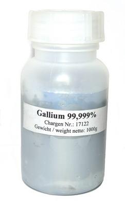 High purity Gallium Metal 1000g 99,999% purity!