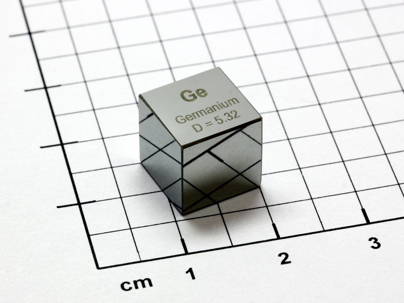 Germanium precision density cube 10mm – 5.32g