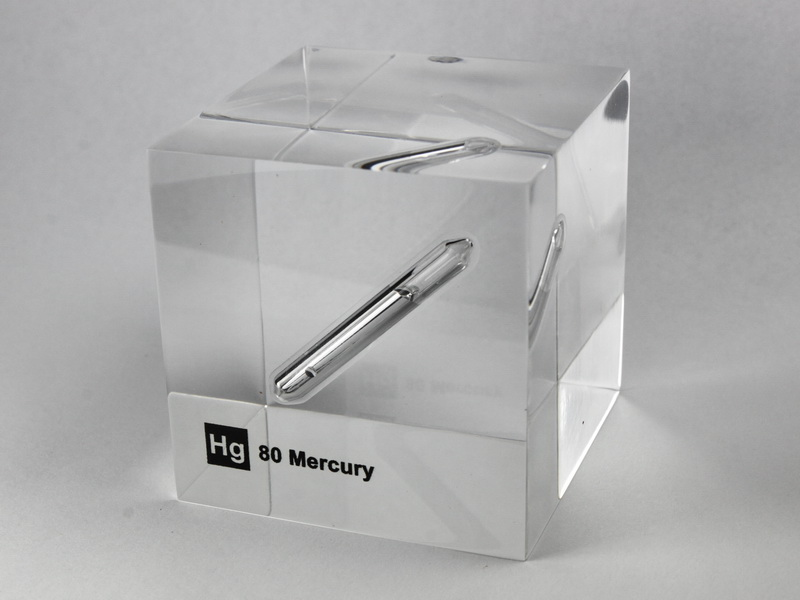 Acrylic Element cube – Mercury Hg – 50mm