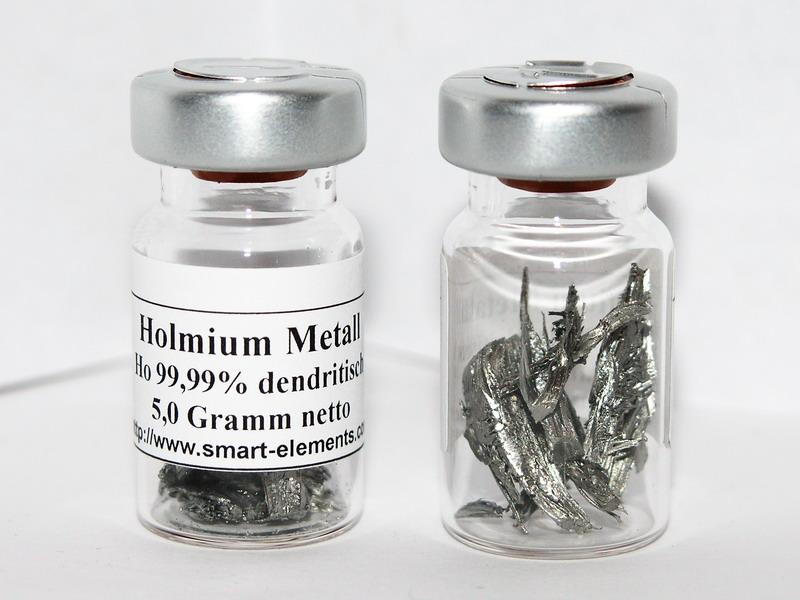 High purity Holmium Metal crystals sealed vial under Argon