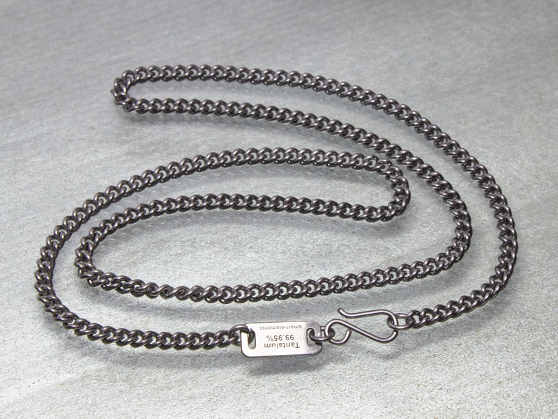 Solid Tantalum curb chain with laser engraved tag 50cm