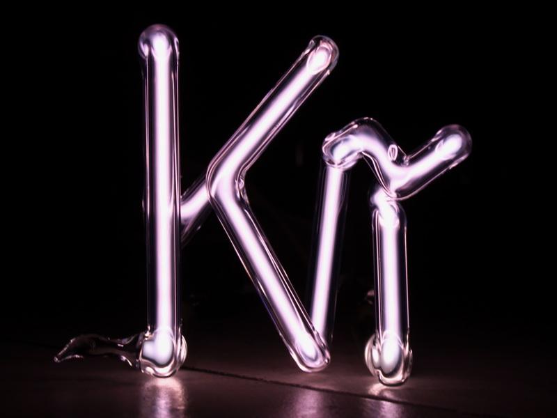 Krypton Element Symbol discharge tube 80x80mm