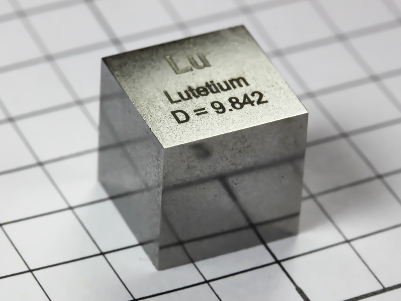 Lutetium precision density cube 10mm – 9.84g