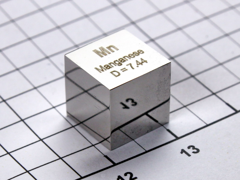 Manganese – precision density cube 10mm – 7.44g