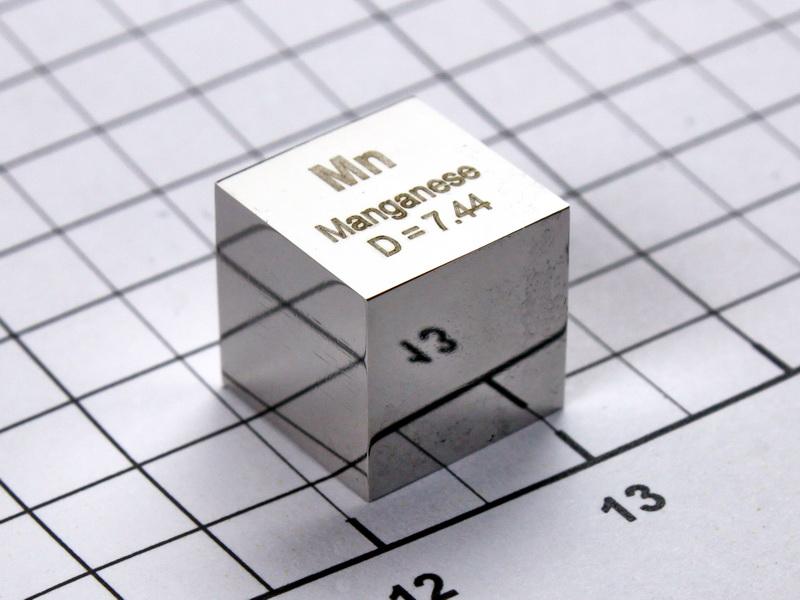 Manganese – precision density cube 10mm – 7.44g