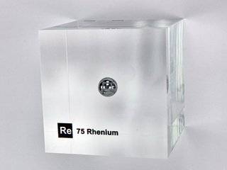 Acrylic Element cube - Rhenium Re - 50mm