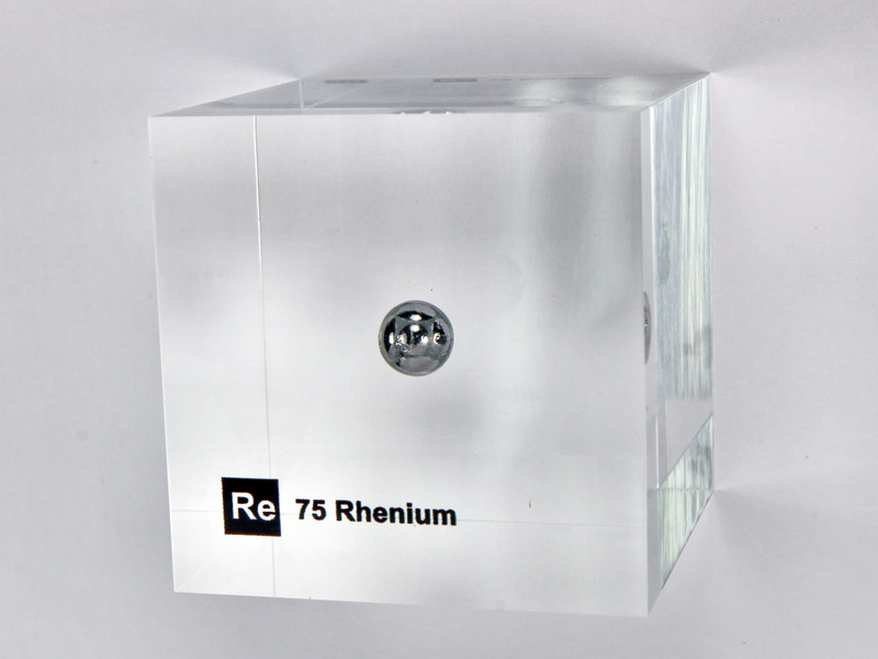 Acrylic Element cube – Rhenium Re – 50mm