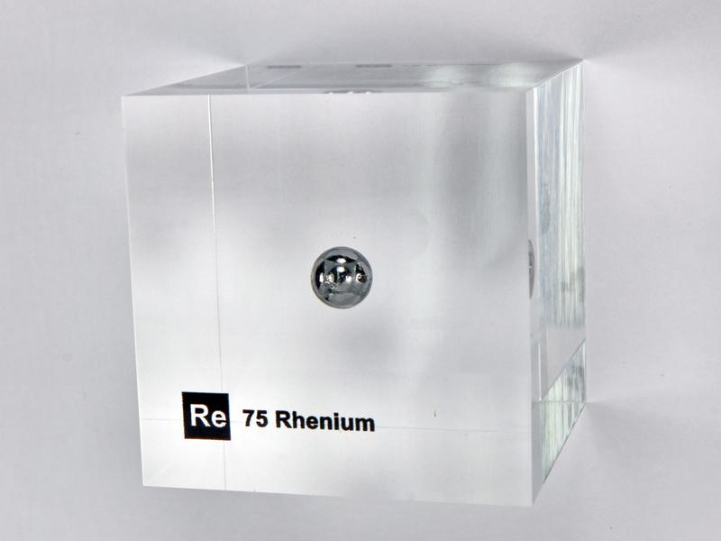 Acrylic Element cube – Rhenium Re – 50mm