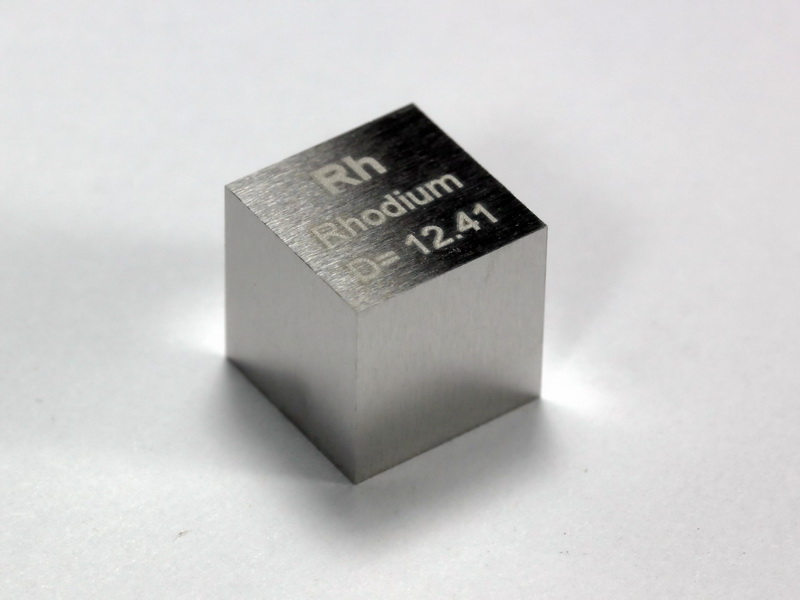 RHODIUM precision density cube 10mm – 12.41g