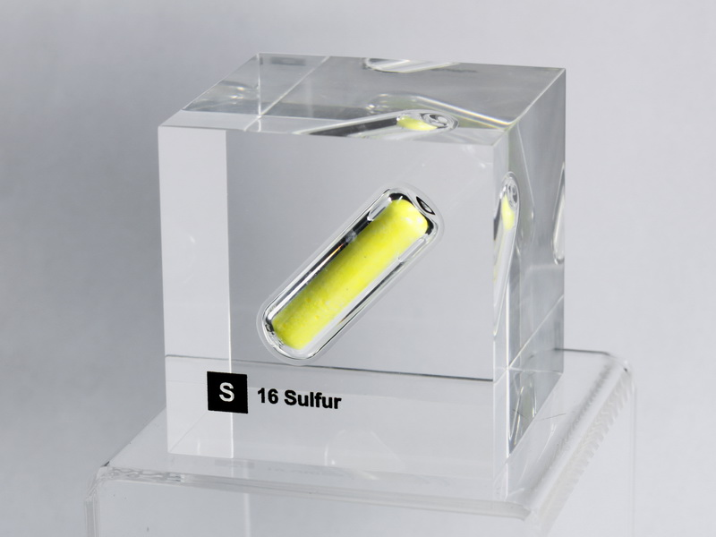 Acrylic Element cube – Sulfur S – 50mm