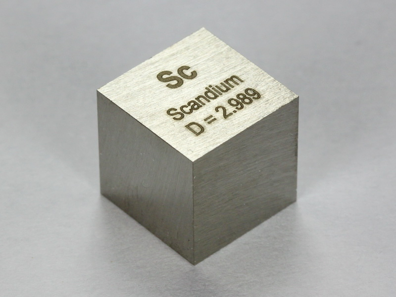 Scandium precision density cube 10mm – 2.98g