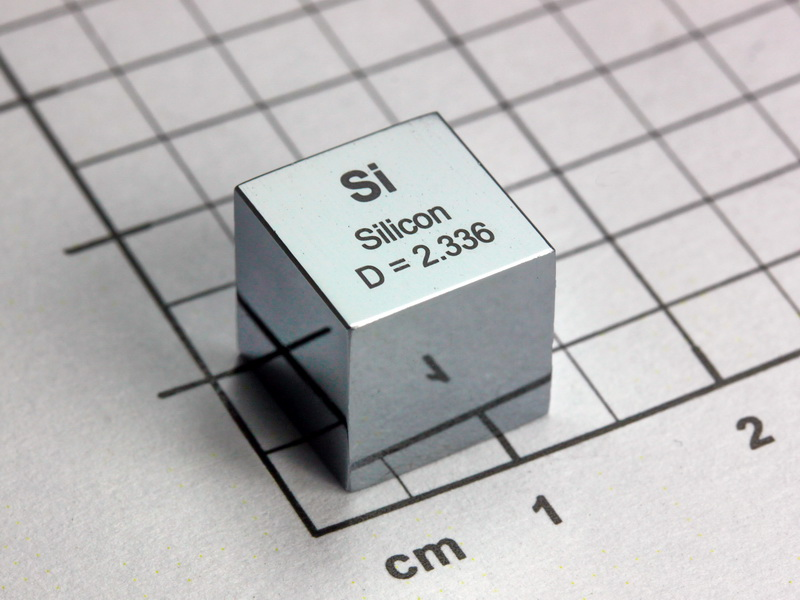 Silicon – precision density cube 10mm – 2.33g