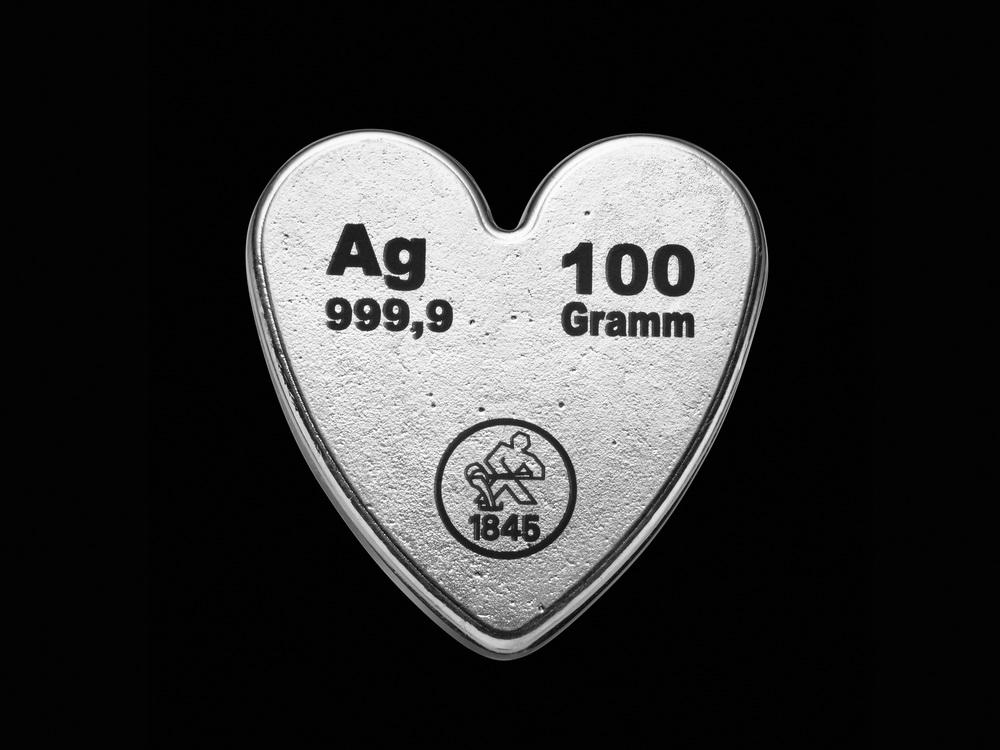 Silberherz 100 g. 99.99% reines Silber