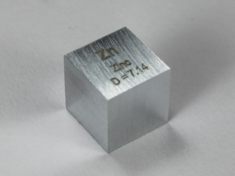 Zinc – precision density cube 10mm – 7.14g